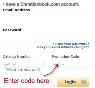 Where to enter coupon code at ChristianBook.com