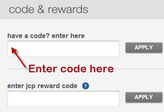 Where to enter coupon code at JCPenney.com
