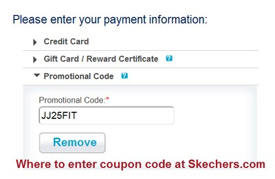 Where to enter coupon code at Skechers.com